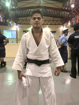 Judoka Joshter Andrew won Guam's first gold medal at the Pacific Games July 17 in judo.