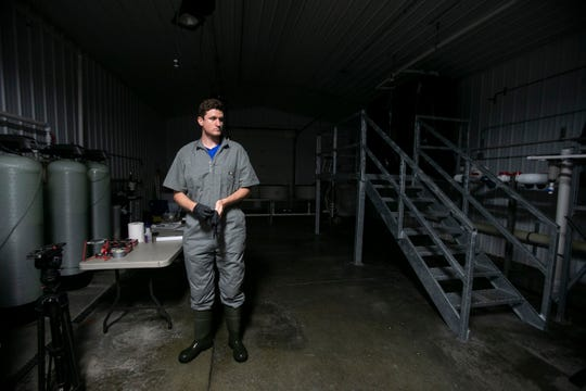 AquaBounty Technologies Salmon Farm farm manager Peter Bowyer puts on gloves in the hatchery room, Albany, Indiana, Thursday, June 27, 2019. The U.S. Food and Drug Administration approved the AquAdvantage salmon in 2015 and now the AquaBounty is looking to begin selling their products to the U.S.