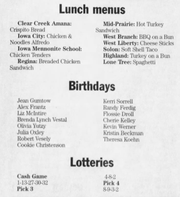 This February 23, 2005 newspaper clipping from the Press-Citizen listed lunch menus for area schools alongside lottery number winners and Julia Oxley's birthday.