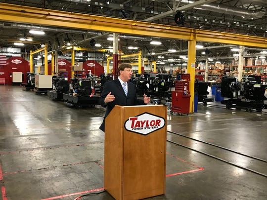 Lt. Gov. Tate Reeves, a Republican candidate for governor, promotes a workforce development proposal during a campaign stop at Taylor Power Systems in Clinton on Monday.