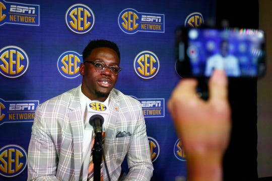 Tennessee linebacker Daniel Bituli speaks to reporters during the NCAA college football Southeastern Conference Media Days, Tuesday, July 16, 2019, in Hoover, Ala.