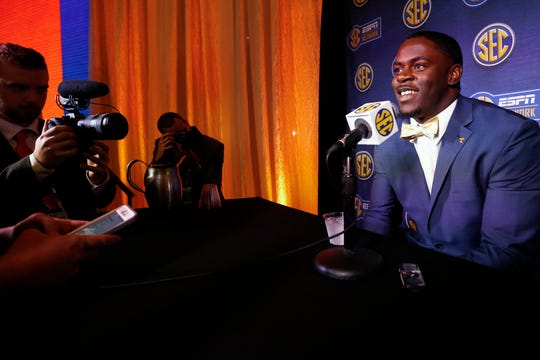 Tennessee linebacker Darrell Taylor speaks to reporters during the NCAA college football Southeastern Conference Media Days, Tuesday, July 16, 2019, in Hoover, Ala.