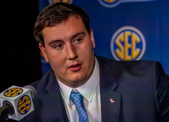 July 16, 2019; Birmingham, AL, USA; Mississippi Rebels offensive lineman Alex Givens speaks to the media at the Hyatt Regency-Birmingham.