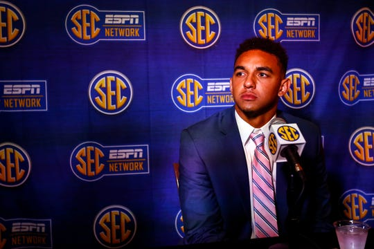Tennessee quarterback Jarrett Guarantano speaks to reporters during the NCAA college football Southeastern Conference Media Days, Tuesday, July 16, 2019, in Hoover, Ala.