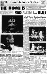 Front page of the Knoxville News Sentinel on July 21, 1969