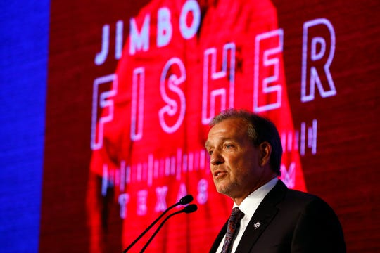 Texas A&M head coach Jimbo Fisher speaks during the SEC Media Days, Tuesday, July 16, 2019, in Hoover, Ala.