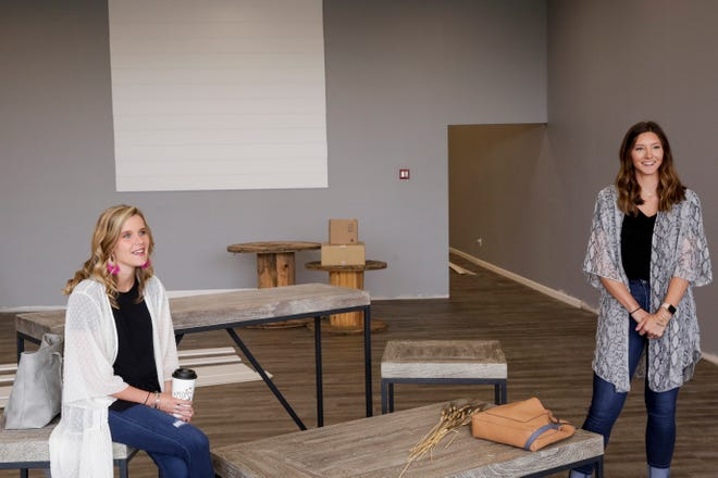 Reagan Geswein and Alivia Roberts talk about The Farmer's Wife & Co. new storefront, 3218 Daugherty drive, Tuesday, July 16, 2019 in Lafayette.
