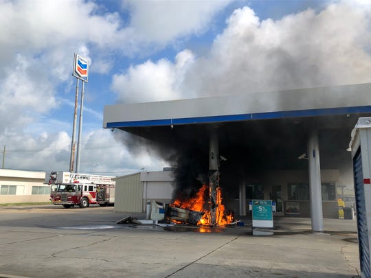 A fire damaged a Chevron station near Interstate 10 Tuesday.