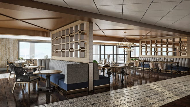 A rendering of Galt House's new restaurant called Walker's Exchange, which is coming to the hotel's west tower in November.