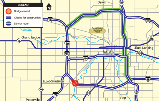 While westbound Interstate-96 is closed between two exits for bridge repairs, the official detour will route people around construction using US-127 and Interstate-69.