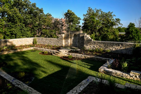 An elevated view of the Scott Sunken Garden at its new location at 125 W. Malcolm X Street on Monday, July 15, 2019, in Lansing.