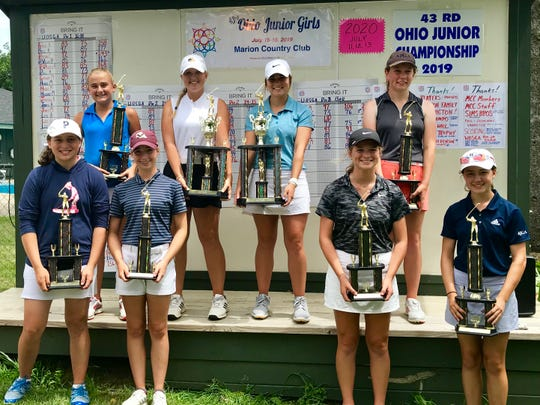 Some of the trophy winners from the 43rd annual Ohio Junior Girls Championship held Monday and Tuesday at the Marion Country Club.