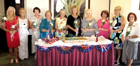 Ten presidents, from left, Rose Kraemer, Bonnie Bozzo, Pam Molander, Eilene Carlsen, Margaret Moores, Cindy Crane, Yvonne Hall, Vera Stegmaier. Rachel DeHanas and Lynn Hall. Not pictured is Sharon Cook, Vera Gibbons, Donna Lang, Mary Stillwell and Mary Ann Carroll.