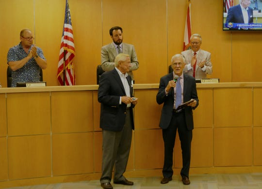 Former interim city manager of Marco Island, David Harden, received Monday a standing ovation from councilors and Marco Islanders. He will continue to work  for the city until the end of the month. Mike McNees is the permanent City Manager since July first.