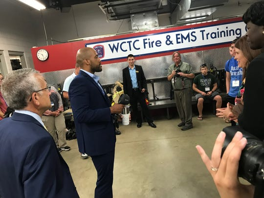 Wisconsin Lieutenant Governor Mandela Barnes holds a thermal imaging device during a tour of Waukesha County Technical College July 15.