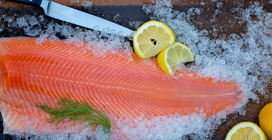 Atlantic salmon on ice from Superior Fresh.