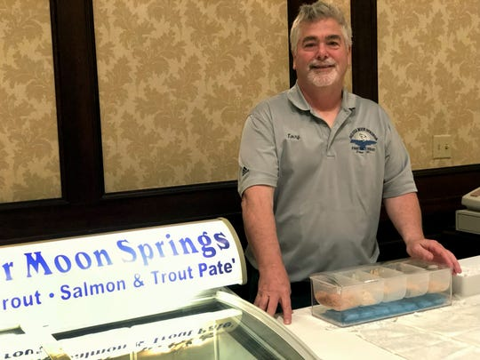 Terry Winkelman of Silver Moon Springs sells his trout pate and smoked trout dip at local farmers markets and at the annual Christmas market at Osthoff Resort in Elkhart Lake. The trout comes from the family's trout farm in Elton, which is run by his brother, Tim Winkelman.