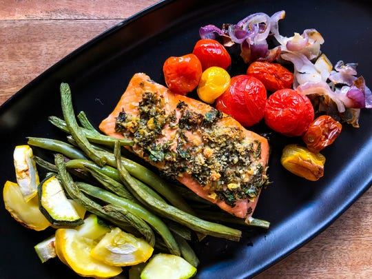 Herb-Crusted Salmon with Roasted Garden Vegetables.