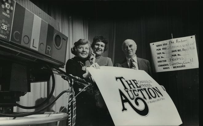The Great TV Auction has been a fixture at Milwaukee PBS since it was begun in 1969. In this 1974 photo, members of the Channel 10 Friends pose with a TV camera at a kickoff party for that year's auction. With them at right is auction co-chairman Willard H. Davidson, then president of bank company Marine Corp. This photo was published in the Dec. 5, 1974, Milwaukee Journal.