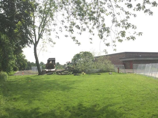 Trees are being removed on the north end of Thorson Elementary School in Cedarburg.