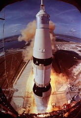 Apollo 11 astronauts Neil A. Armstrong, Michael Collins and Edwin E. Aldrin Jr.  are riding in this spacecraft as it lifts off the pad at Cape Kennedy, Florida, July 16, 1969.