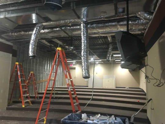 Demolition is taking place in a presentation room at Westlawn Elementary School in Cedarburg.