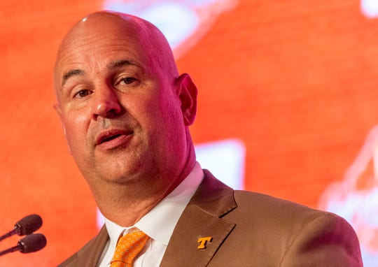 Jul 16, 2019; Birmingham, AL, USA; Tennessee Volunteers head coach Jeremy Pruitt speaks to the media at the Hyatt Regency-Birmingham. Mandatory Credit: Vasha Hunt-USA TODAY Sports