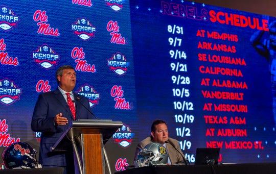 July 16, 2019; Birmingham, AL, USA; Mississippi Rebels head coach Matt Luke speaks to the media at the Hyatt Regency-Birmingham. Mandatory Credit: Vasha Hunt-USA TODAY Sports