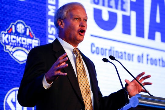 Steve Shaw, Coordinator of Officials, speaks during the NCAA college football Southeastern Conference Media Days, Tuesday, July 16, 2019, in Hoover, Ala. (AP Photo/Butch Dill)