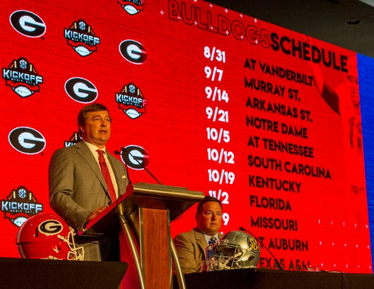 July 16, 2019; Birmingham, AL, USA; Georgia Bulldogs head coach Kirby Smart speaks to the media at the Hyatt Regency-Birmingham. Mandatory Credit: Vasha Hunt-USA TODAY Sports