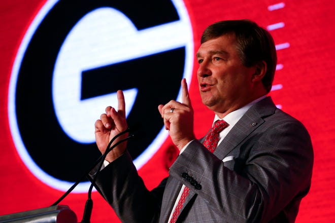 Head coach Kirby Smart, of Georgia, speaks during the NCAA college football Southeastern Conference Media Days, Tuesday, July 16, 2019, in Hoover, Ala. (AP Photo/Butch Dill)