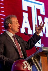 Texas A&M Aggies head coach Jimbo Fisher speaks to the media at the Hyatt Regency-Birmingham on Tuesday.