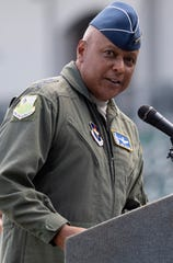 Lt. Gen. Anthony J. Cotton, Commander and President of Air University, joins JROTC students for a rocket launch, at Riverwalk Stadium in Montgomery, Ala., commemorating the 50th anniversary of the Apollo 11 moon landing on Tuesday July 16, 2019.