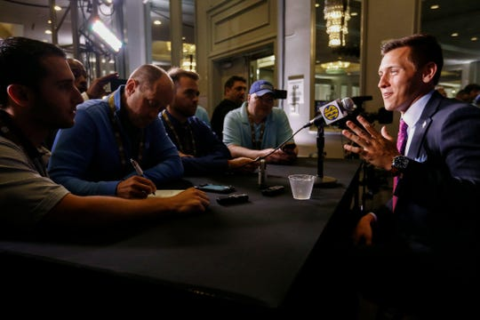 Texas A&M punter Braden Mann speaks to reporters during the NCAA college football Southeastern Conference Media Days, Tuesday, July 16, 2019, in Hoover, Ala. (AP Photo/Butch Dill)