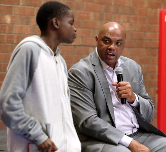 NBA great Charles Barkley responds to a question from Matthew Jones, 13, at the 32nd Annual Stake & Burger event benefiting the Boys and Girls Clubs of Rutherford County on Tuesday.