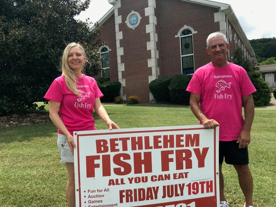 April Jackson, director of children's ministries, and Mike Loring, director of the Bethlehem United Methodist Church Fish Fry, met at the church this week to prepare for the event that draws up to 4,000 people.