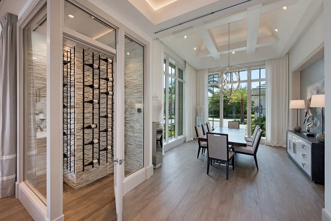 The Captiva model includes a climate-controlled glass wine room.
