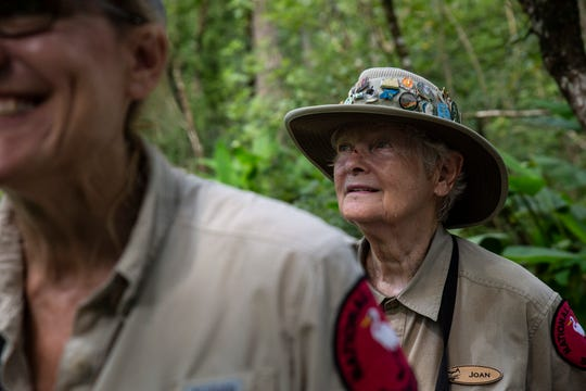 Amy Swanson, left, and Joan Dunn, right, smile after spotting a ruddy daggerwing on Tuesday, July 16, 2019, at the AudubonÕs Corkscrew Swamp Sanctuary.