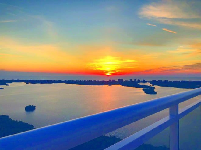 The Seaglass tower residences offer expansive views of Estero Bay and the Gulf of Mexico.