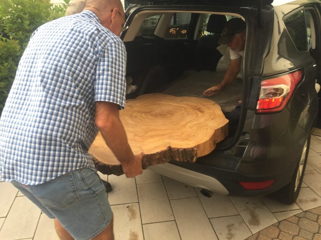 """A cross section of the historic Opera House """"Bicentennial Tree"""" arrives July 16 at its new home within the Granville Public Library."""