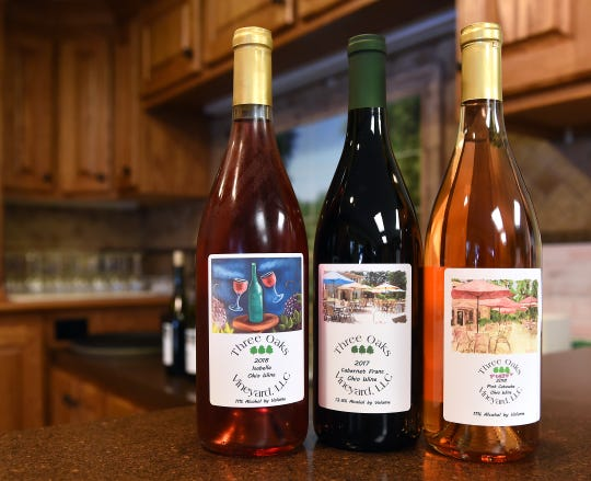 Isabella, Cabernet Franc, and Peggy, named for a neighbor and friend, wines available in the tasting room at Three Oaks Vineyard in Granville.