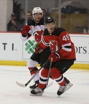 File - The New Jersey Devils, Joey Anderson works out with other young players in the DevilÕs organization at their 2019 Development Camp held at the Devils practice facility in Newark on July 9, 2019.