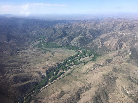 View from a flight over the Gila River in Grant County, New Mexico on May 11, 2019.