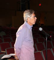 Ultra Health President and CEO Duke Rodriguez speaks during a public hearing about Otero County's Hemp Production Ordinance at a public hearing July 11.