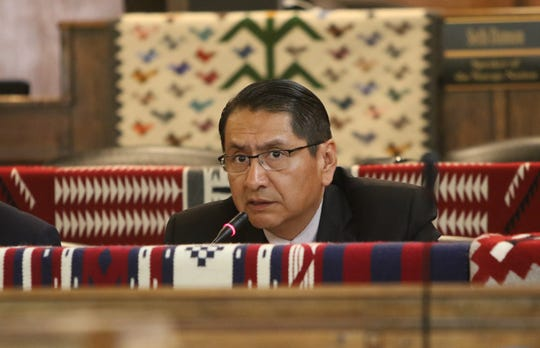 Navajo Nation President Jonathan Nez delivers the State of the Nation address on July 15 at the summer session for the Navajo Nation Council in Window Rock, Arizona.