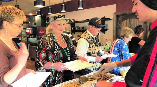 Guests enjoy a buffet at the Sunday Gospel Brunch.