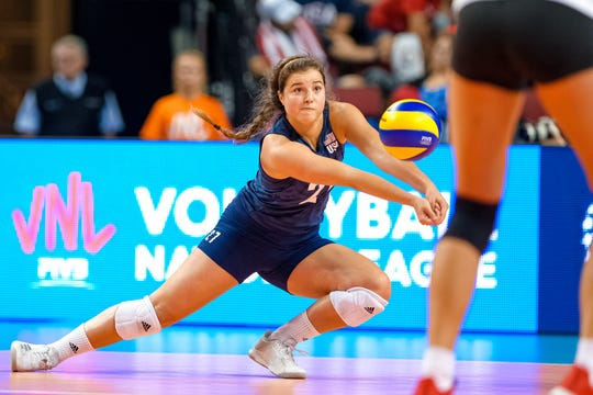 Mary Lake, a Palm Springs High School grad, digs the ball for Team USA against Germany during the FIVB Volleyball Nations League game in Lincoln, Neb.
