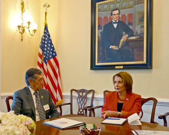 Agua Caliente Band of Cahuilla Indians Tribal Council Vice Chairman Larry N. Olinger, who died Monday, July 15, 2019, meets in an undated photo with House Speaker Nancy Pelosi.