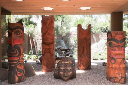 Cedar totems carved by the artists Tim Boyko, Francis Horne, Don Yeomans and Doug Zilkie, each ranging from 73 to 92 inches tall, are among the belongings of the late philanthropist Jim Houston that will be offered for sale beginning July 19.
