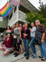 Transgender women stand in front of the LGBT Center OC  in Santa Ana on Tuesday, June 25, 2019. Many transgender women struggle to get the healthcare services they need. (Photo by Paul Rodriguez, Contributing Photographer)